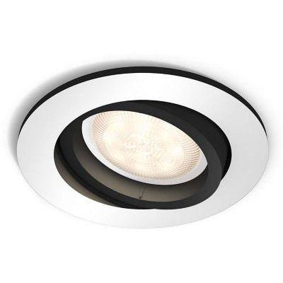 image Philips Hue Luminaire télécommandé Spot encastré MILLISKIN Rond Blanc + Dim Switch télécommande Hue variateur de lumière - Fonctionne avec Alexa