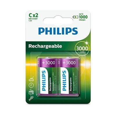 image Philips Rechargeables Batterie R14B2A300/10 - Piles domestiques (Batterie rechargeable, Hybrides nickel-métal (NiMH), 1,2 V, 3000 mAh, Cd (cadmium), Hg (mercure), 0,086 g)
