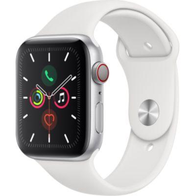 image AppleWatch Series5 (GPS + Cellular, 44 mm) Boîtier en Aluminium Argent - BraceletSport Blanc