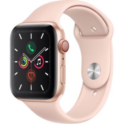 image AppleWatch Series5 (GPS + Cellular, 44 mm) Boîtier en Aluminium Or - BraceletSport Rose des Sables