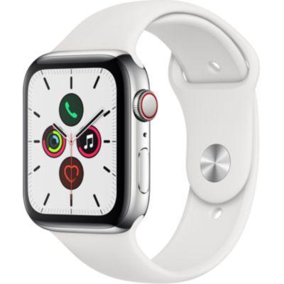 image Apple Watch Series 5 (GPS+Cellular, 44 mm) Boîtier en Acier Inoxydable - Bracelet Sport Blanc
