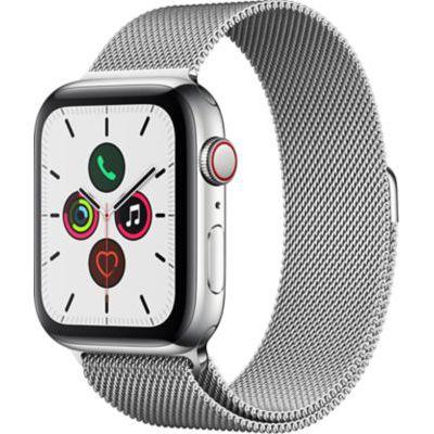 image Apple Watch Series 5 (GPS+Cellular, 44 mm) Boîtier en Acier Inoxydable - Bracelet Milanais