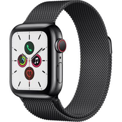 image Apple Watch Series 5 (GPS+Cellular, 44 mm) Boîtier en Acier Inoxydable Noir Sidéral - Bracelet Milanais Noir Sidéral