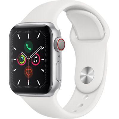 image AppleWatch Series5 (GPS + Cellular, 40 mm) Boîtier en Aluminium Argent - BraceletSport Blanc