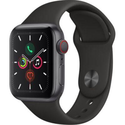 image AppleWatch Series5 (GPS + Cellular, 40 mm) Boîtier en Aluminium GrisSidéral - BraceletSport Noir