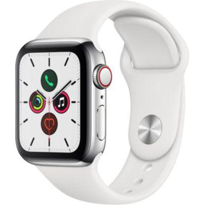 image Apple Watch Series 5 (GPS+Cellular, 40 mm) Boîtier en Acier Inoxydable - Bracelet Sport Blanc