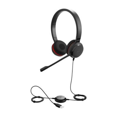 image Jabra Evolve 30 UC Stereo Casque - Casque Unified Communications pour VoIP Softphone avec annulation passive du bruit - Câble USB avec contrôleur - Noir