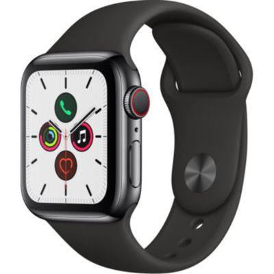 image Apple Watch Series 5 (GPS+Cellular, 40mm) Boîtier en Acier Inoxydable Noir Sidéral - Bracelet Sport Noir