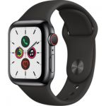 image produit Apple Watch Series 5 (GPS+Cellular, 40mm) Boîtier en Acier Inoxydable Noir Sidéral - Bracelet Sport Noir