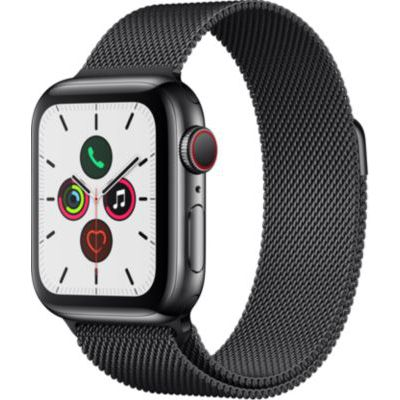 image Apple Watch Series 5 (GPS+Cellular, 40 mm) Boîtier en Acier Inoxydable Noir Sidéral - Bracelet Milanais Noir Sidéral