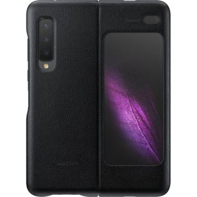 image Samsung Galaxy Fold Étui Portefeuille en Cuir de Veau Italien avec Pochette intérieure pour Cartes Noir