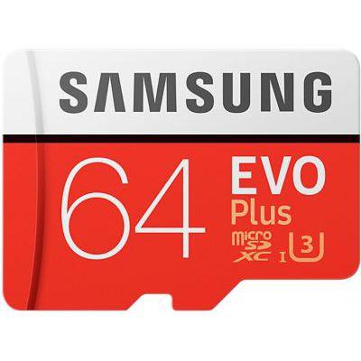 image Samsung Carte mémoire microSDXC Pro Plus 64 Go UHS Classe de vitesse 3, classe 10 pour Action Cam, smartphone et tablette avec adaptateur SD (modèle 2017) EVO Plus 64 go rouge/blanc
