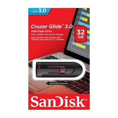 image Sandisk UFM 32GB USB Cruzer Glide 3.0 32Go USB 3.0 (3.1 Gen 1) Type A Noir, Rouge Lecteur USB Flash - lecteurs USB Flash (32 Go, USB 3.0 (3.1 Gen 1), Type A, Slide, Noir, Rouge)