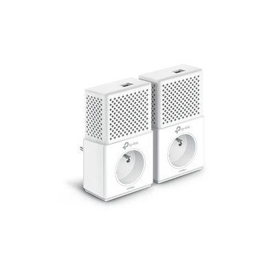 image TP-Link CPL 1000 Mbps avec 1 Port Ethernet Gigabit et Prise Intégrée, Kit de 2 - Solution idéale pour profiter du service Multi-TV à la maison TL-PA7010P KIT(FR)