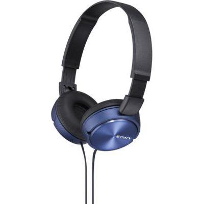 image Sony MDR-ZX310L Casque Pliable - Bleu & Rallonge Audio stéréo (3,5mm mâle vers Femelle) 3,66 m