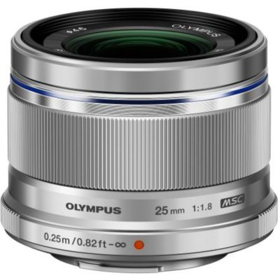 image Olympus M.Zuiko Objectif Digital 25mm F1.8, focale fixe lumineuse, compatible tout appareil Micro 4/3 (modèles Olympus OM-D & PEN, Panasonic G-series), Argent