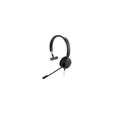 image Jabra Evolve 20 Mono Headset - Casque certifié Microsoft pour VoIP Softphone avec annulation passive du bruit - Câble USB avec contrôle volume - Noir