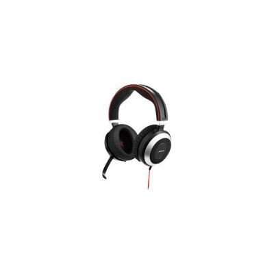 image Jabra Evolve 80 MS Casque Circum-Aural Stereo Filaire - Casque Optimisé Microsoft Teams avec Suppression Active du Bruit - Câble USB-A et Connexions Jack 3,5 mm - noir