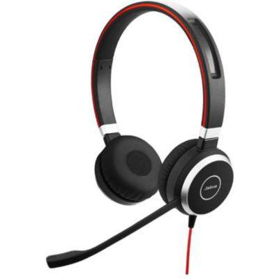 image Jabra Evolve 40 Stereo Headset – Casque Unified Communications pour VoIP Softphone avec Annulation Passive du Bruit – Câble USB avec Contrôleur – Noir