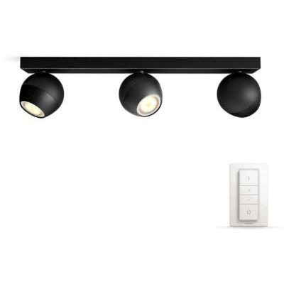 image Philips Hue White Ambiance BUCKRAM Barre de Spots 3 X 5,5W - Noir (télécommande incluse)