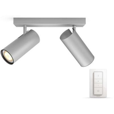 image Philips Hue White Ambiance BURATTO Barre de Spots 2 X 5,5 W - Aluminium (télécommande incluse)