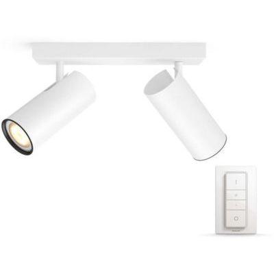 image Philips Hue White Ambiance BURATTO Barre de Spots 2 X 5,5 W - Blanc (télécommande incluse)