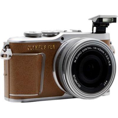 image Olympus PEN E-PL9 Kit, Appareil Photo Micro 4/3 (16,1 MP, Stabilisation d'Image 5 Axes, Viseur Électronique, Vidéo 4K) + Objectif M.Zuiko 14-42mm EZ Zoom, Marron/Argent