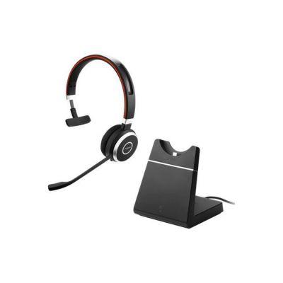 image produit Jabra Evolve 65 Casque Audio Mono Sans Fil - Écouteurs Unified Communications avec Batterie Longue Durée avec Support de Charge - Adaptateur USB Bluetooth - noir - livrable en France