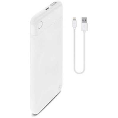 image Belkin - Batterie Externe Lightning Pocket Power Bank 5000 mAh (Sécurité Certifiée) pour iPhone et iPad – Blanc (Câble Lightning inclus)