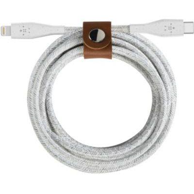 image Belkin Câble USB-C Boost Charge avec connecteur Lightning et sangle de fermeture (câble DuraTek, pour iPhone12, 12Pro, 12Pro Max, 12 mini et modèles antérieurs, 1,2 m, blanc)