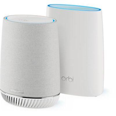 image produit NETGEAR Système WiFi mesh tri-band Orbi (RBK50V) avec enceinte connectée technologie Harman Kardon, vitesse AC3000 , couvre jusqu'à 350 m², pack de 2 pour un wifi partout dans la maison - livrable en France
