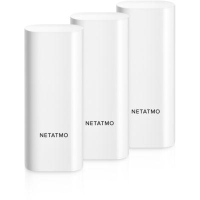 image Netatmo DTG-FR Détecteurs d'Ouverture Intelligents pour Portes et Fenêtres, sans Fil, monoblocs, Lot de 3, détection des Vibrations