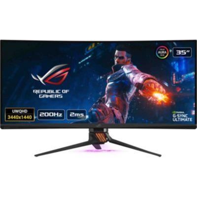 "image ASUS ROG PG35VQ - Ecran PC gaming eSport 35"" UWQHD - Dalle VA incurvée - 21:9 - 200Hz - 3440x1440 - 1000cd/m² - Display Port, HDMI et2x USB3.0 - Nvidia G-Sync Ultimate - AuraSync - Display HDR 1000"