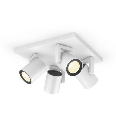 image Philips Hue White & Color Ambiance Spot Argenta x4 carré Blanc Compatible Bluetooth, Fonctionne avec Alexa