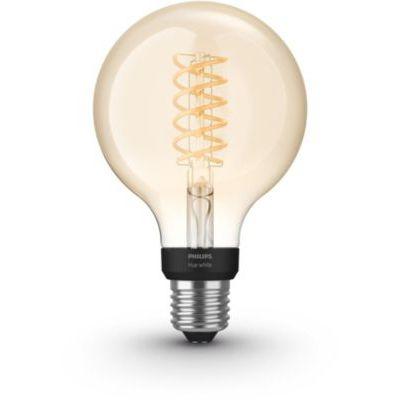 image Philips Hue Ampoule LED Connectée White Filament E27 Forme Globe, Compatible Bluetooth 7 W, Fonctionne avec Alexa
