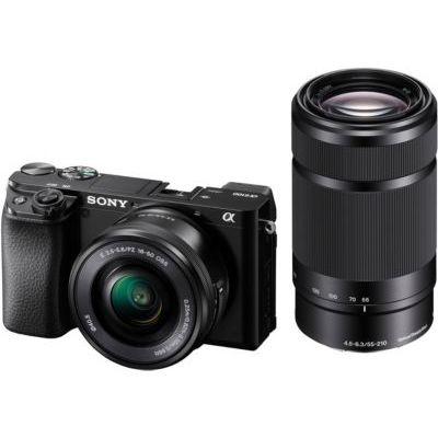 image Sony Alpha ILCE-6100YB Appareil photo hybride APS-C, Kit boîtier + optique E 16-50mm + E optique E 55-210mm, Noir