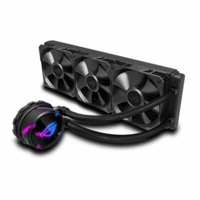 image Asus - ROG STRIX Cooler CPU Tout-En-Un ROG, avec éclairage réglable RGB, Aura Sync, Revêtement de Pompe Ncvm et Ventilateur de Radiateur ROG 3x ROG FAN 120 mm