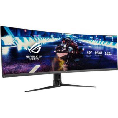 "image ASUS ROG XG49VQ - Ecran PC gaming eSport 49"" UWQHD - Dalle VA incurvée 1800R - 32:9 - 144Hz - 3840 x 1080 - 400cd/m² - Display Port, 2x HDMI et 2x USB 3.0 - AMD FreeSync 2 HDR - AuraSync"