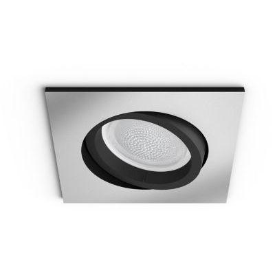 image Philips Hue White & Color Ambiance Spot Centura encastré carré Aluminium Compatible Bluetooth, Fonctionne avec Alexa