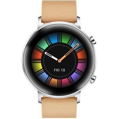 image HUAWEI Watch GT 2(42mm) Montre connectée, Autonomie d'une semaine, GPS intégré, 15 Modes de Sport, Suivi du rythme cardiaque en temps réel, Tracker d'activité quotidien, Classique Marron