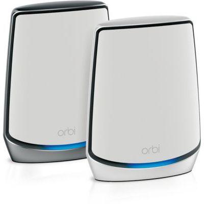image NETGEAR Système WiFi 6 Mesh Tri-Bandes Orbi (RBK852), Routeur WiFi 6 AX6000, pack de 2, WiFi jusqu'à 6 Gbit/s, Couverture WiFi jusqu'à 350m² et pour plus de 60 appareils, spécial maisons murs épais