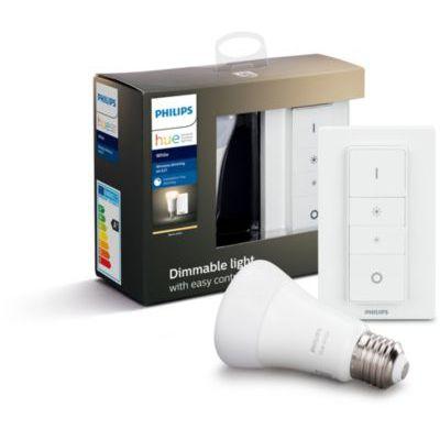image Philips Hue Ampoule LED Connectée White Dimming Kit E27 avec télécommande variateur de lumière Hue Compatible Bluetooth, Fonctionne avec Alexa