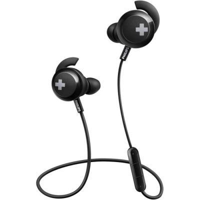 image Philips SHB4305BK Bass+ Casque Bluetooth Intra-auriculaire avec Microphone, Isolation sonore, télécommande, Basse satelle Noir