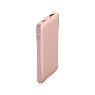 image Belkin Batterie externe Pocket Power Bank 5000 mAh (sécurité certifiée) pour iPhone 11, 11 Pro / Pro Max, X, XS / XS Max, XR, SE, 8/8+, iPad, Samsung Galaxy S10 / S10+, S10e – Or Rose