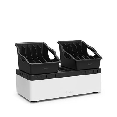 image Belkin - B2B160vf - Store and Charge Go - Station de Recharge avec 2 Bacs Amovibles et une Station de Recharge 10 Ports USB – Noir / Blanc