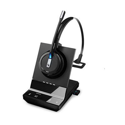image Sennheiser Micro Casque Haut de Gamme sans Fil monaural DECT + BT Version Office Convertible 3 en 1 pour PC et Mobile, certifié UC