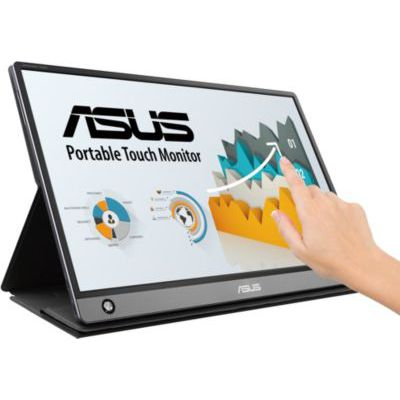 """image ASUS Zenscreen Touch MB16AMT - Ecran portable tactile 15,6"""" FHD - Télétravail ou gaming - Utilisation via USB-C ou USB-A + Micro HDMI - Batterie intégrée (4h) - Dalle IPS - 250cd/m² - Haut-parleurs"""