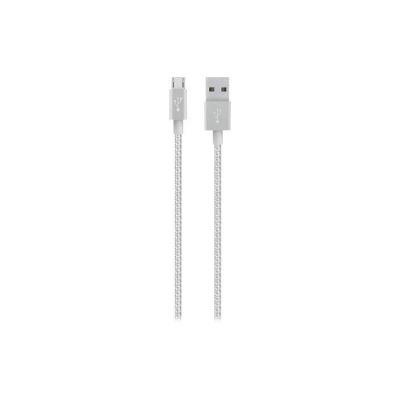 image Belkin - Câble Métallique Sync/Charge avec Connecteur Micro USB 2.4A - Argent Métallique