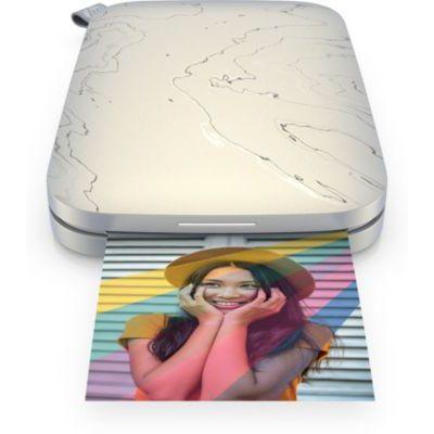 image HP Sprocket Imprimante Photo Instantanée Portable 5.8x8,7 cm (Blanc) Imprimez des Images sur du Papier Collant ZINK à partir de vos Appareils IOS et Android