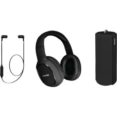 image TOSHIBA - Pack Audio Sans fil 3 en 1 - HSP-3P19K - Noir - Casque Bluetooth - Enceinte Bluetooth - Ecouteur Bluetooth